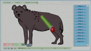 How to draw -Hyena (animal) - drawing tutorial video