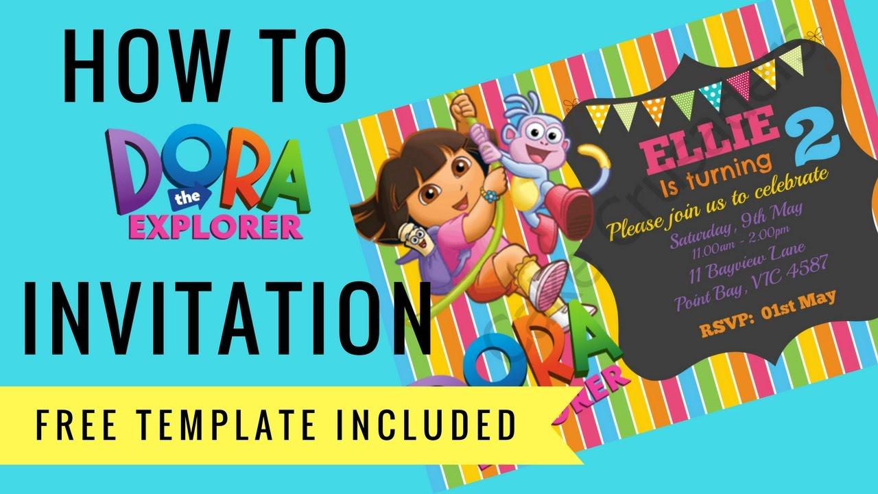 How To Make Dora The Explorer Digital Invitation Free Template