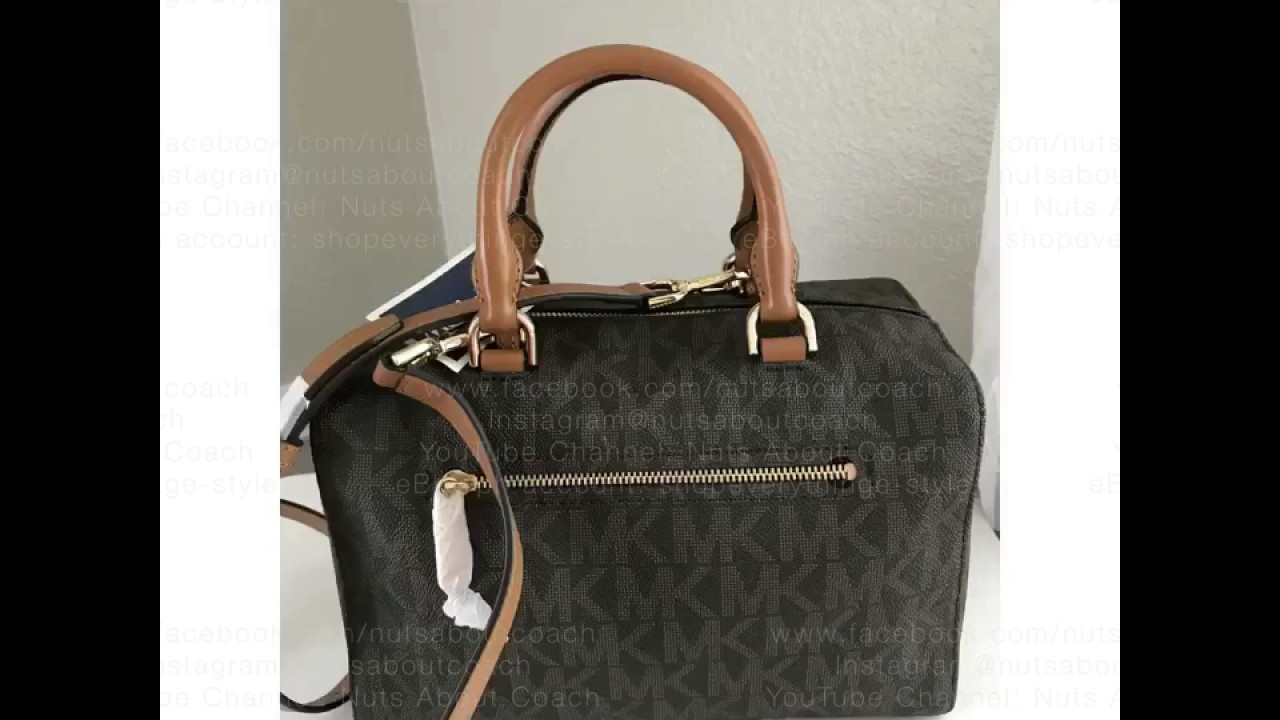 4de263d3cce4 MICHAEL KORS MEDIUM KIRBY SATCHEL IN PVC SIGNATURE BROWN - YouTube