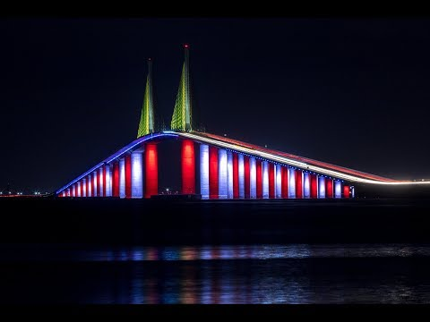 Kevin Campbell - The Skyway Bridge Lights Up 'Red, White and Blue' For Veterans Day