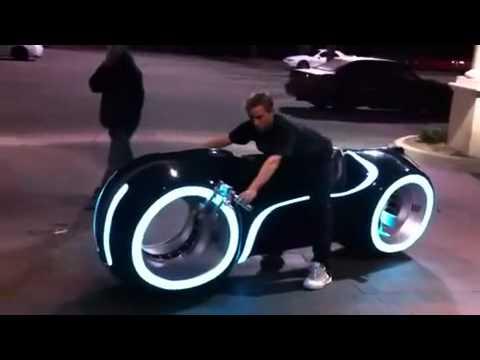 Guy Riding Tron Light Bike Real Youtube