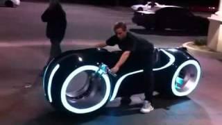 Guy Riding Tron Light Bike Real!