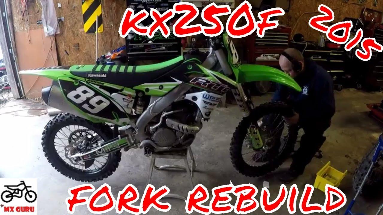 Kawasaki KX 250f 2015 Front Fork Rebuild Run Through 3x ~ Showa SFF 48mm  Fork ~