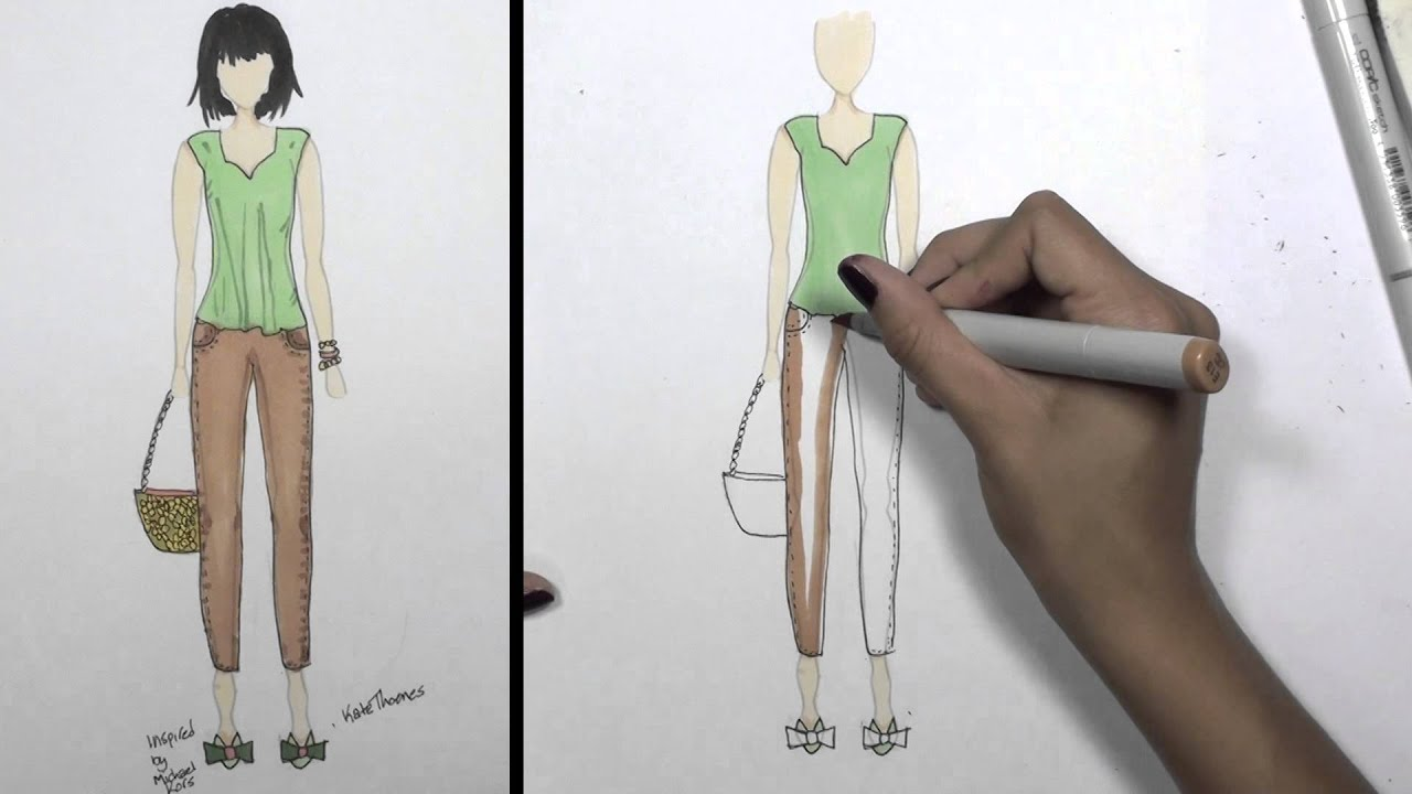 How To Sketch A Design For Clothes | How To Draw Clothes For Beginners Fashion Designing Loose Summer