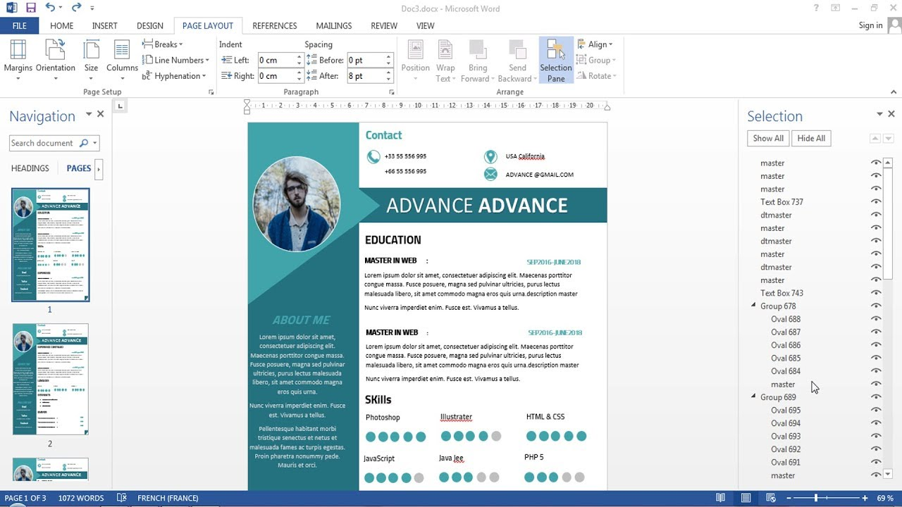 cv  resume 2 pages with microsoft word free doc pdf