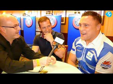 Gerwyn Price and Arron Monk talk to Paul Starr at the Players Championship in Coventry