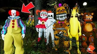 FORTNITE BANANA MARSHMELLO - ANIMATRONICS vs EVIL CLOWN FOREST (GTA 5 Mods FNAF Kids RedHatter)