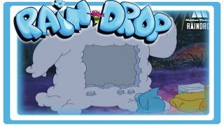 Universe creation and earth evolution, science for children and toddlers. Raindrop cartoon