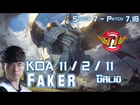 SKT T1 Faker GALIO vs LEBLANC Mid - Patch 7.18 KR Ranked