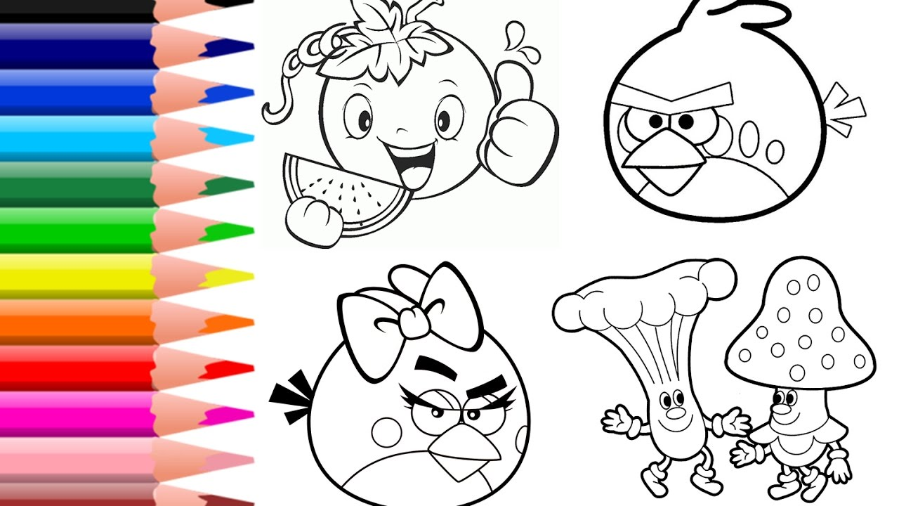 How To Color Angry Birds Coloring Pages Vegetables Book