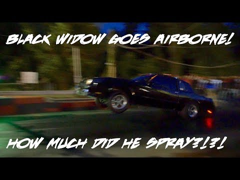 SPRAYED IT DOWN!!! BLACK WIDOW MONTE CARLO SS DOES A HUGE WHEELIE AT SHUT UP AND RACE!