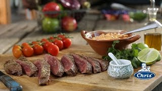 Argentine skirt steak with spicy red chimichurri style sauce