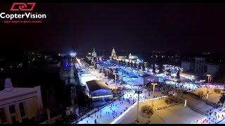 Аэросъемка ледового катка в Москве на ВДНХ