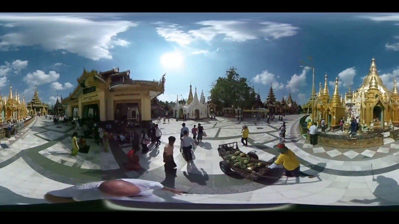 Панорамное видео. Кругосветное путешествие вокруг Шведагона. World tour around Shwedagon.
