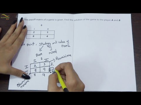Operation Research game theory by payoff matrix solution of the game to the player A and B