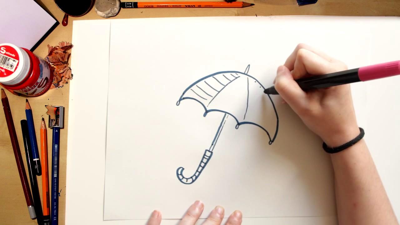 Como Desenhar Um Guarda Chuva Desenhos Para Criancas Youtube