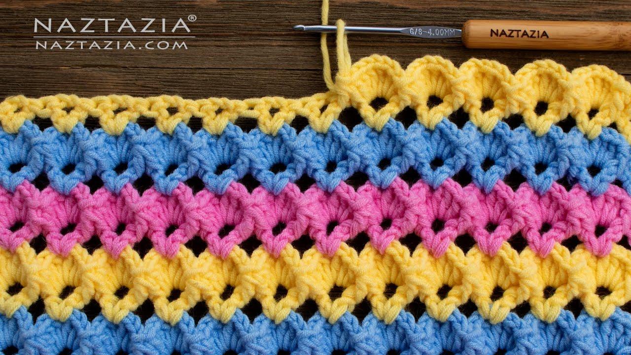 HOW to CROCHET 3D SHELL STITCH - Easy Crochet Stitches by Naztazia