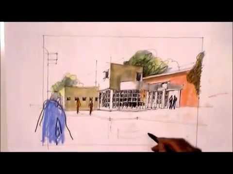 Skizze von Klaus Meier-Pauken des  Moines Art Center, Architekt: Richard Meier