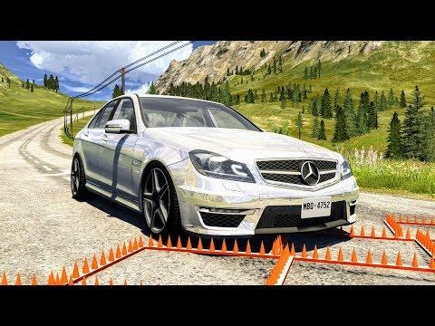 Massive Spike Strip Pileup Crashes #9 – BeamNG Drive  CrashBoomPunk