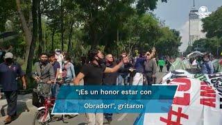 Decenas de simpatizantes del presidente Andrés Manuel López Obrador, se presentaron al plantón sobre Avenida Juárez, del Frente Nacional Anti-AMLO para gritar a favor del mandatario