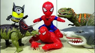 The Spiderman Toys Protects The Minion Toys From The Dinosaur Toy And Shark Toy! - LotsMoreToys