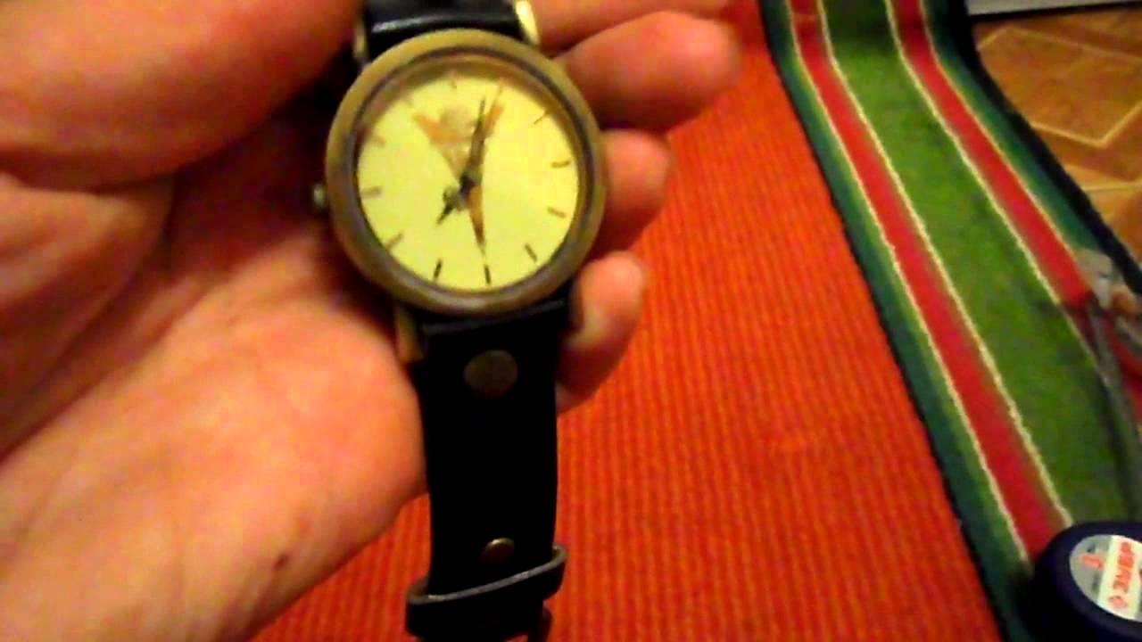 Кварцевые наручные часы, под джинсовую ткань, с медным циферблатом .