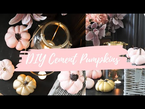 Autumn decor DIY, How to make cement pumpkins