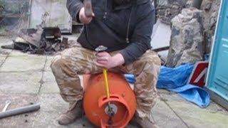 Propane tank valve removal - Rocket Stove Heater  - Pot Belly Stove