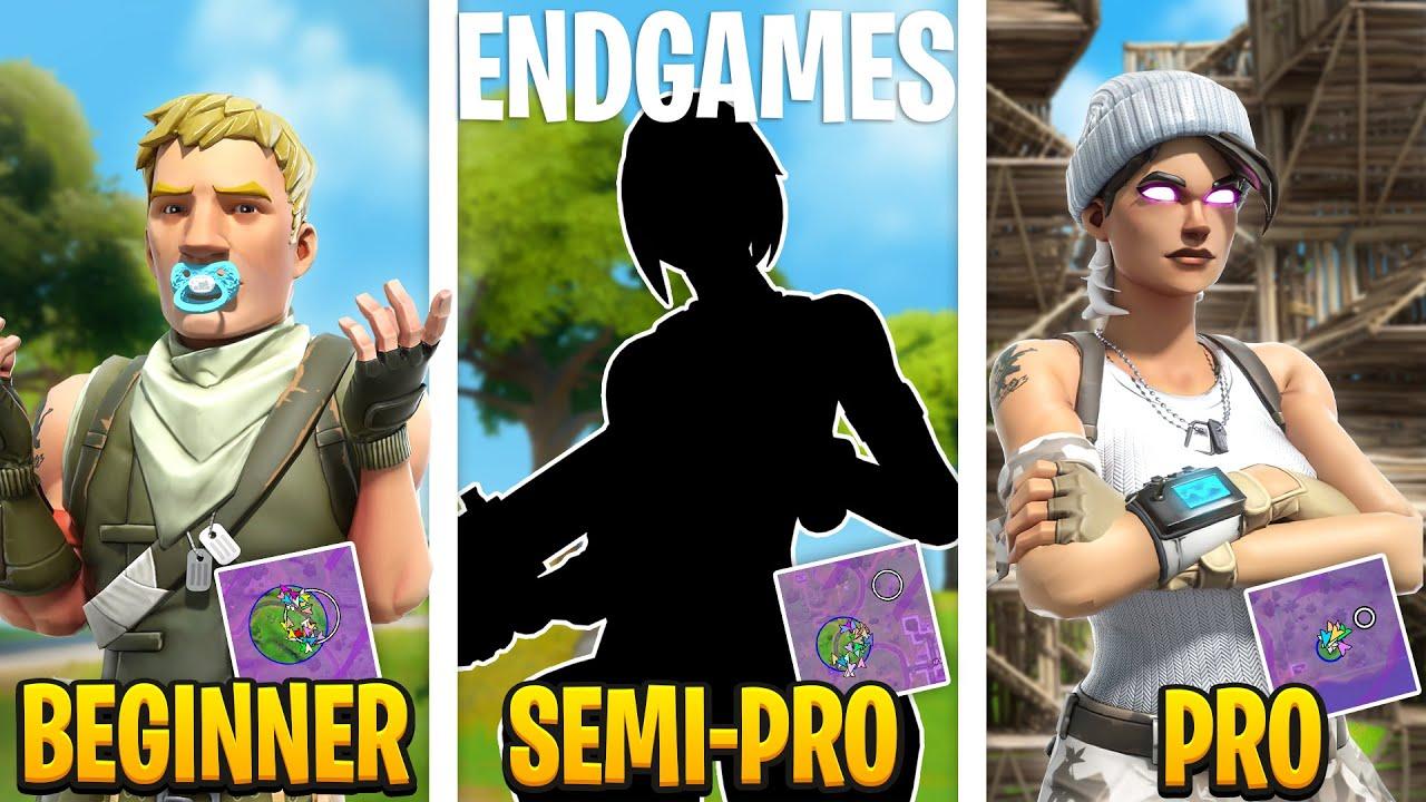 3 Levels of Solo Endgames : Beginner Vs Semi-Pro Vs Pro (Solo FNCS/Dreamhack Tips & Tricks)