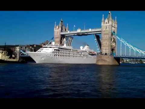 London tower bridge opening and closing  for cruise ship during olympic  2012