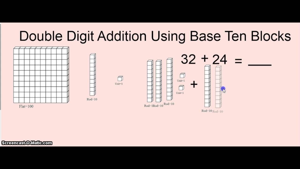 Workbooks mab worksheets : Double Digit Addition Using Base Ten Blocks - YouTube