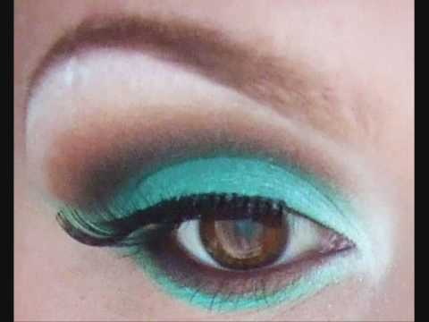TURQUOISE AND BROWN MAKEUP TUTORIAL - YouTube
