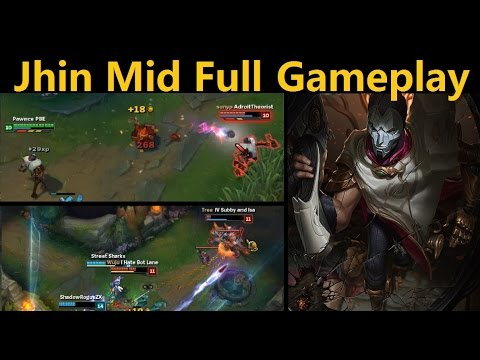 Jhin Mid Lane - Mid(ish) lane Jhin fights off enemies AND crappy trolling attempts
