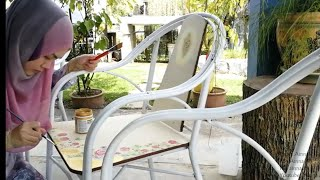 DIY Outdoor Table and Chair Makeover|Decoupage Shabby Chic Style