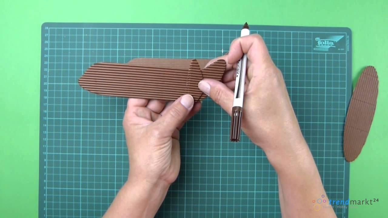 Flugzeug basteln aus Wellpappe / Papier - YouTube