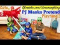 Children's TOY CHANNEL: PJ Masks Cartoons Pretend Playtime! PJ Masks Ride-On Car and Bowling