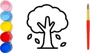 كيفية رسم شجرة سهل خطوة بخطوة للمبتدئين / رسم سهل / تعليم الرسم للمبتدئين