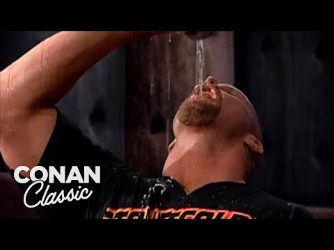 """Stone Cold"" Steve Austin Demonstrates How To Drink A Beer - ""Late Night With Conan O'Brien"""