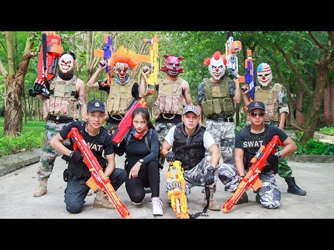 NERF WAR : Special Task SWAT Warriors Nerf Guns Fight Criminal Group Mask Bandits Mega Mod Elite