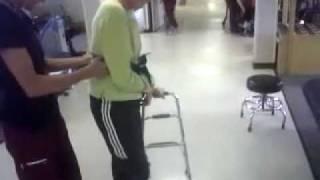 Dixie Doyle walks with hemi walker (7-Jun-2011)