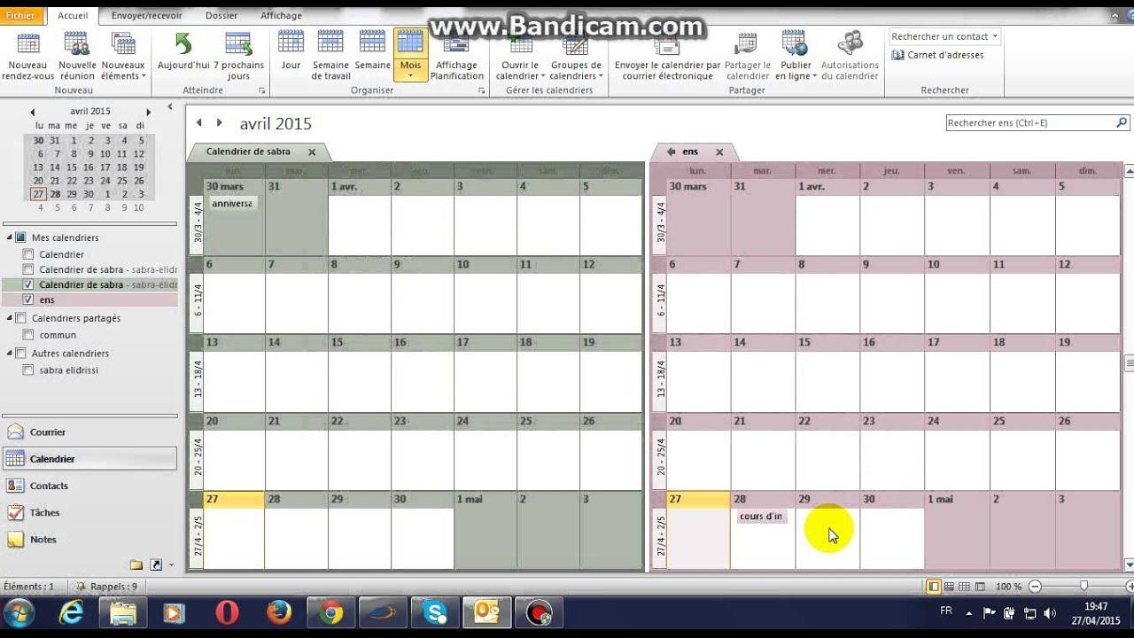 comment cre r envoyer et partager un calendrier sur outlook 2010 youtube. Black Bedroom Furniture Sets. Home Design Ideas