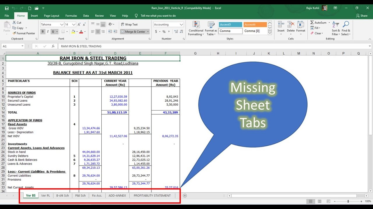 How to recover missing sheet tabs microsoft excel tutorial the teacher youtube also rh