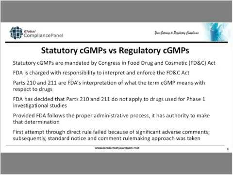 FDA's current thinking on cGMP compliance for Phase I Investigational Drug and Biologic products