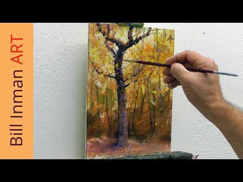 Art Class Oil Painting Demo 8-21-14 Fall Trees