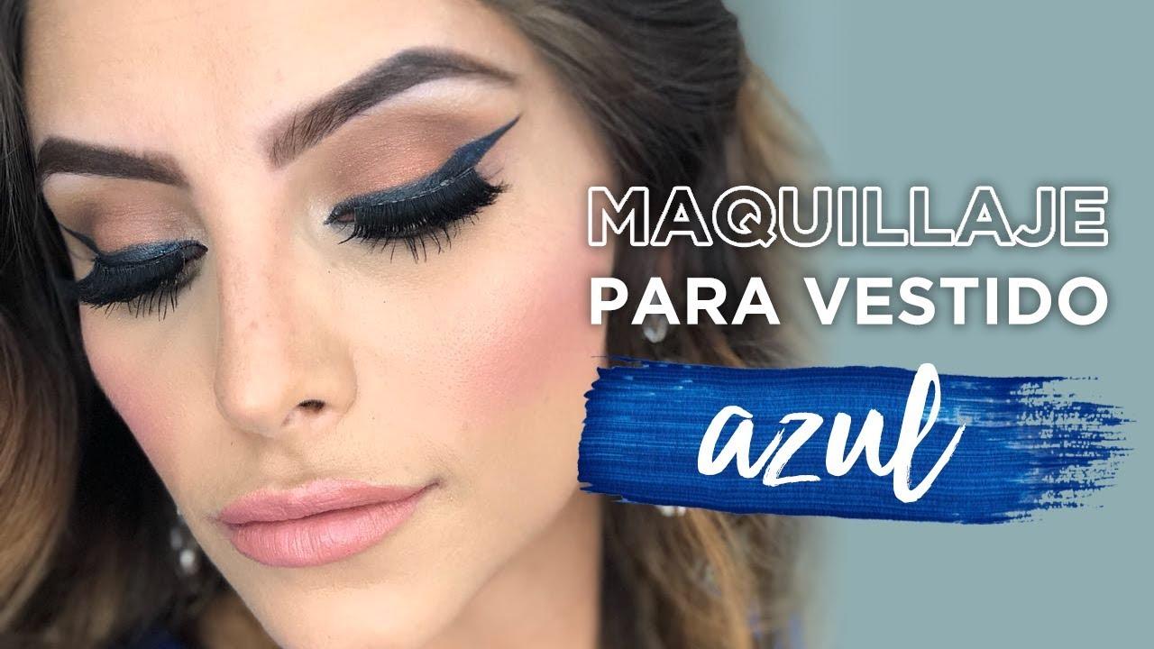 Maquillaje labios para vestido azul