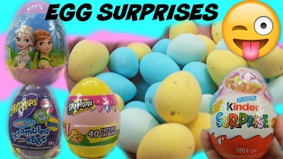 Easter egg surprises!!Kinder eggs ,shopkins eggs, frozen eggs,scrambled eggs,egg surprises,anna elsa