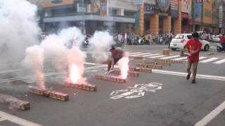 Street fireworks in Kaohsiung, Taiwan