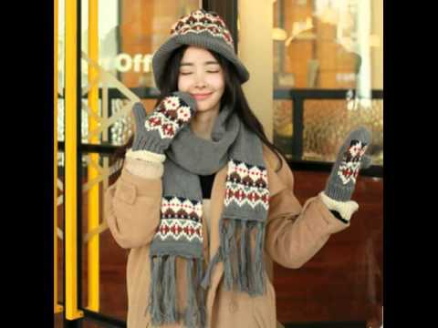 womens hat scarf and gloves set - YouTube 6472f7f2892