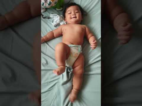 Baby Xavier Miguel Bicycle Kick before bath and Diaper change