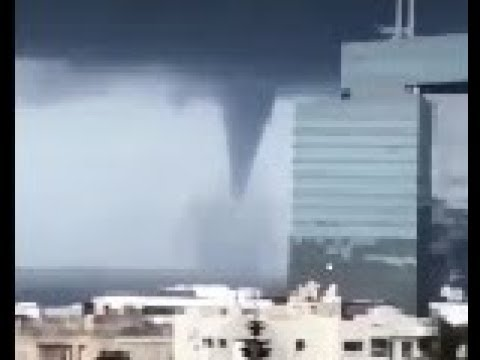 A first : Large water tornado (waterspout) off Morocco capital Rabat 07.01.18